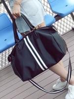 กระเป๋าเดินทางแนวลำลอง สีดำ แต่งแถบเส้นคาด มี2ขนาด