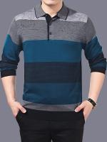 เสื้อโปโลแขนยาวเกาหลี แต่งลายสลับสี แนวลำลอง มี2สี