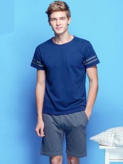 ชุดนอนสีน้ำเงินเกาหลี แนวยุโรป เสื้อแขนสั้น+กางเกง