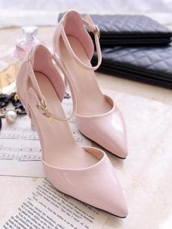 Pre Order รองเท้าส้นสูงหัวแหลม ผู้หญิงแฟชั่น ดีไซน์ด้วยสายรัดข้อเท้า สีพื้นเรียบๆแต่เก๋ มี2สี