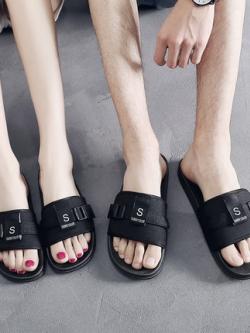 รองเท้าแตะแบบสวมเกาหลี แต่งสายหัวเข็มขัด มี3สี
