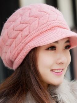 หมวกแฟชั่นเกาหลี ถักลายบิด ขนหนานุ่ม มี5สี