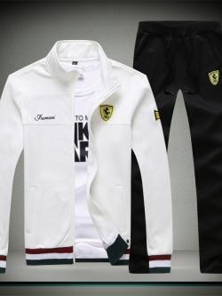 **พร้อมส่ง**ชุดออกกำลังกาย เสื้อแขนยาวแต่งลาย Ferrari+กางเกงขายาวดีไซน์สปอร์ต สีขาว ไซส์ L