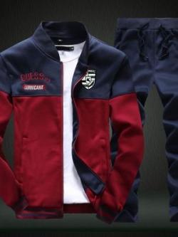 **พร้อมส่ง**ชุดวอร์มแฟชั่นเกาหลี เสื้อแนวเบสบอลแขนยาว+กางเกงขายาว สีแดง ไซส์ M