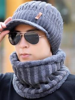 หมวกแก็ปไหมพรมเกาหลี แต่งลายเส้น+ผ้าพันคอ มี3สี