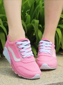Pre Order รองเท้าผ้าใบออกกำลังกาย แนวเกาหลี แต่งลายดีไซน์เก๋ ใส่สบาย มี3สี