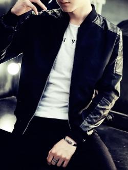 Pre Order เสื้อแจ็ตเก็ตแฟชั่นเกาหลี แนวเบสบอลผู้ชายแขนยาว มี 3 สี