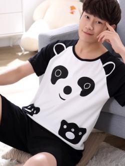ชุดนอนเกาหลี แต่งรูปการ์ตูน เสื้อแขนสั้น+กางเกง มี2แบบ