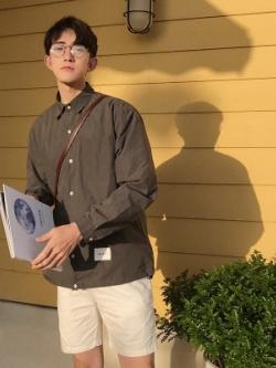 เสื้อเชิ้ตแขนยาวเกาหลี แต่งกระเป๋าเสื้อ แนวลำลอง มี3สี
