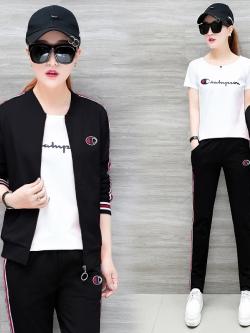 Pre Order ชุดวอร์มแฟชั่น แนวสปอร์ต เซ็ท3ชิ้น เสื้อแขนยาว+เสื้อยืดตัวใน+กางเกงขายาว มี4สี