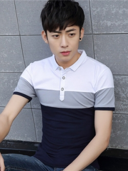 เสื้อโปโลแขนสั้นเกาหลี แต่งแถบสีสลับ มี3สี