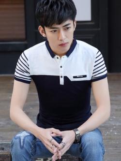 เสื้อโปโลแขนสั้นเกาหลี แต่งแขนเสื้อลายขวาง มี3สี