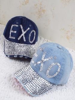 Pre Order หมวกยีนส์แฟชั่น ประดับเลื่อมลาย EXO ปรับระดับได้ มี3สี