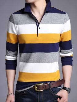 เสื้อโปโลแขนสั้นเกาหลี แต่งลายขวางสลับ จั้มแขน มี2สี
