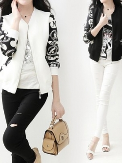 เสื้อแจ็คเก็ตเบสบอลเกาหลี แต่งลายกราฟฟิคแขนเสื้อ มี2สี