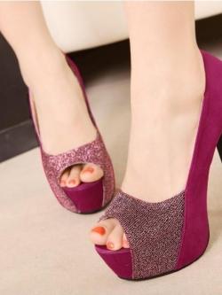 Pre-Order รองเท้าส้นสูงแฟชั่นเกาหลี หนังนิ่ม ผสมด้วยเลื่อมทำให้โดดเด่นมากยิ่งขึ้น