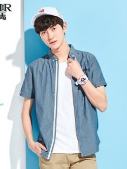 เสื้อเชิ้ตแขนสั้นเกาหลี แต่งแถบกระดุม ดีไซน์แขนเสื้อ มี2สี