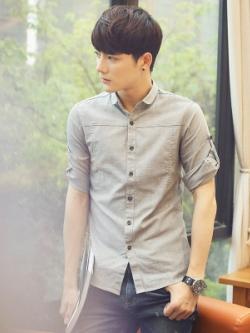 เสื้อเชิ้ตแขนห้าส่วนเกาหลี เรียบสวย ดีไซน์ที่เก็บแขนเสื้อ มี6สี