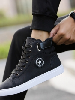 รองเท้าผ้าใบทรงสูงเกาหลี แต่งสายคาดเข็มขัด มี3สี