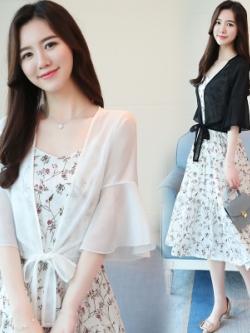 เสื้อคลุมตัวสั้นเกาหลี แขนสามส่วน ผ้านุ่ม มี2สี