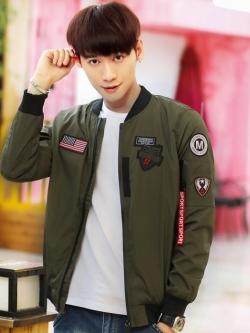 Pre Order เสื้อแจ็คเก็ตแขนยาวแนวนักบิน แต่งลายคลาสสิก สไตล์เกาหลี มี4สี