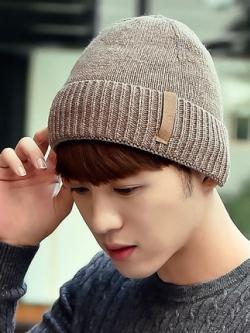 หมวกกันหนาวเกาหลี อุ่นสบาย พับขอบ เรียบหรู มี5สี