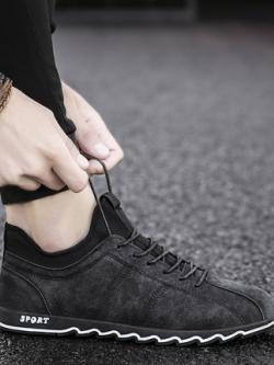 รองเท้าผ้าใบเกาหลี แต่งขอบลายหยัค แนวSport มี3สี