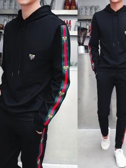 Pre Order ชุดวอร์มแฟชั่นเกาหลี เสื้อแขนยาวมี Hood แต่งแถบข้าง+กางเกงขายาว