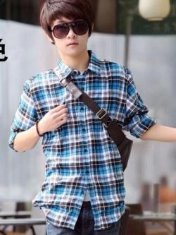 เสื้อเชิ้ตลายสก็อตแขนยาว แนวเกาหลี ผ้าเนื้อหนาดีมาก แต่งลายเส้นสีฟ้าสวยงาม
