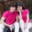 Pre Order เสื้อโปโลคู่รักแฟชั่น สไตล์เกาหลี แต่งลายคลาสสิก สีชมพู thumbnail 1