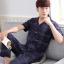 Pre Order ชุดนอนชายเทรนด์เกาหลี เสื้อคอปกแขนสั้นลายเส้น+กางเกงขายาว สีตามรูป thumbnail 1