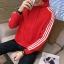 Pre Order เสื้อกันหนาวแฟชั่น แขนยาวแต่งแถบ มีฮู้ด สไตล์เกาหลี มี4สี thumbnail 1
