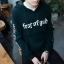 Pre Order เสื้อกันหนาวสไตล์วัยรุ่นเกาหลี แขนยาวมีฮู้ด สกรีนลายตัวอักษรเท่ห์ๆ มี2สี thumbnail 2