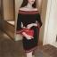 Pre Order ชุดเดรสผ้าถักเทรนด์เกาหลี แต่งแถบสี แขนสามส่วน มี2สี thumbnail 1