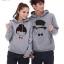 Pre Order เสื้อกันหนาวคู่รักแฟชั่นเกาหลี แขนยาว มีฮู้ด พิมพ์ลายการ์ตูน สีเทา thumbnail 1