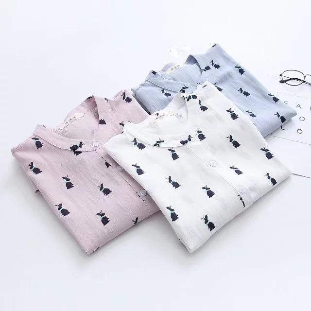 เสื้อเชิ๊ตคอจีนลำลอง ตัวหลวม ลายกระต่าย พร้อมส่ง 3 สี
