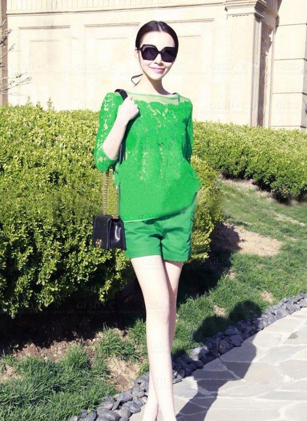 PreOrderไซส์ใหญ่ - เซตคู่ ไซส์ใหญ่-คนอ้วน เซตเสื้อลูกไม้สีเขียวซีทรู-กางเกงขาสั้นเอวยืดสีเขียว (แยก ชิ้น-ไซส์ได้ ตามราคา)