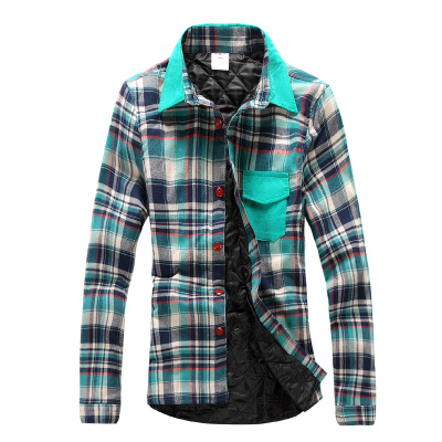 เสื้อเชิ้ตแขนยาวเกาหลี ลายสก็อตสีเขียว ซับในอย่างดี ผ้าเนื้อดีมาก