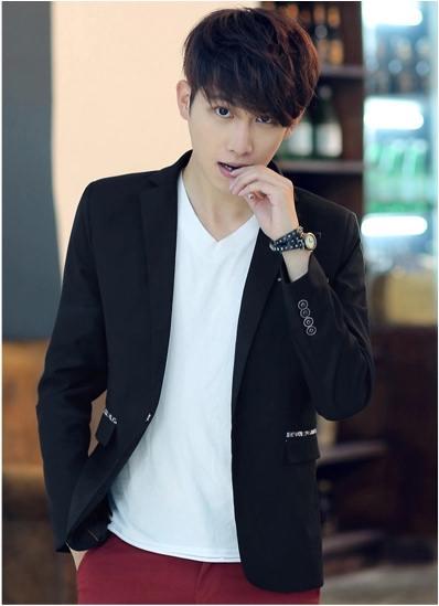 Pre Order เสื้อสูทผู้ชายเทรนด์เกาหลี แขนยาวคอปก กระเป๋าแต่งลายคลาสสิก มี3สี