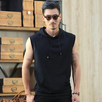 เสื้อฮู้ดแขนกุดเกาหลี แนวSport เรียบสวย มี2สี