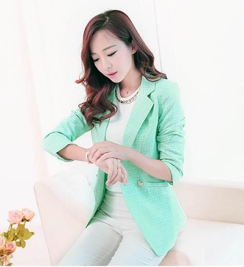 Pre Order เสื้อสูทหญิงสไตล์เกาหลีทรงสวย แขนยาว ลายตาราง แต่งกระดุมสองแถว มี4สี