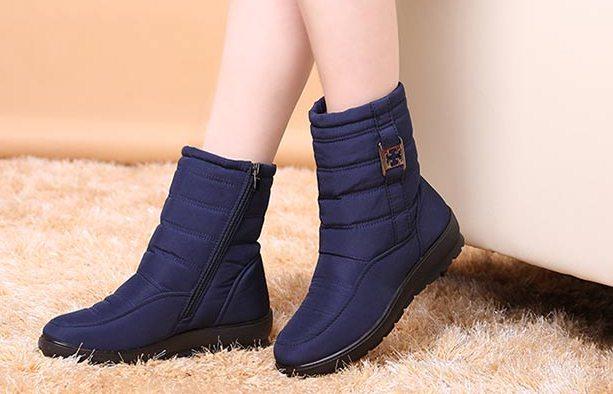 Pre Order - รองเท้ากันหนาว รองเท้าลุยหิมะ ผ้าร่มกันน้ำ ข้างในบุกำมะหยี่ ซิบข้าง สูง 19cm สี : น้ำเงิน / ดำ / น้ำตาล / ไวน์แดง / เขียว ไซส์ 36 / 37 / 38 / 39 / 40 / 41 / 42