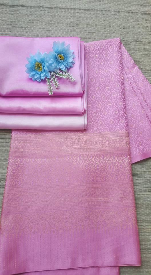 ผ้าไหมสังเคราะห์ทอเครื่อง ตัดชุดโทนสีชมพู