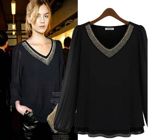 ##พร้อมส่ง## เสื้อแฟชั่นเกาหลีไซส์ใหญ่ คนอ้วน คอวี ผ้าชีฟอง ปักหมุดตรงคอสองสี เงิน-ทอง สีดำ