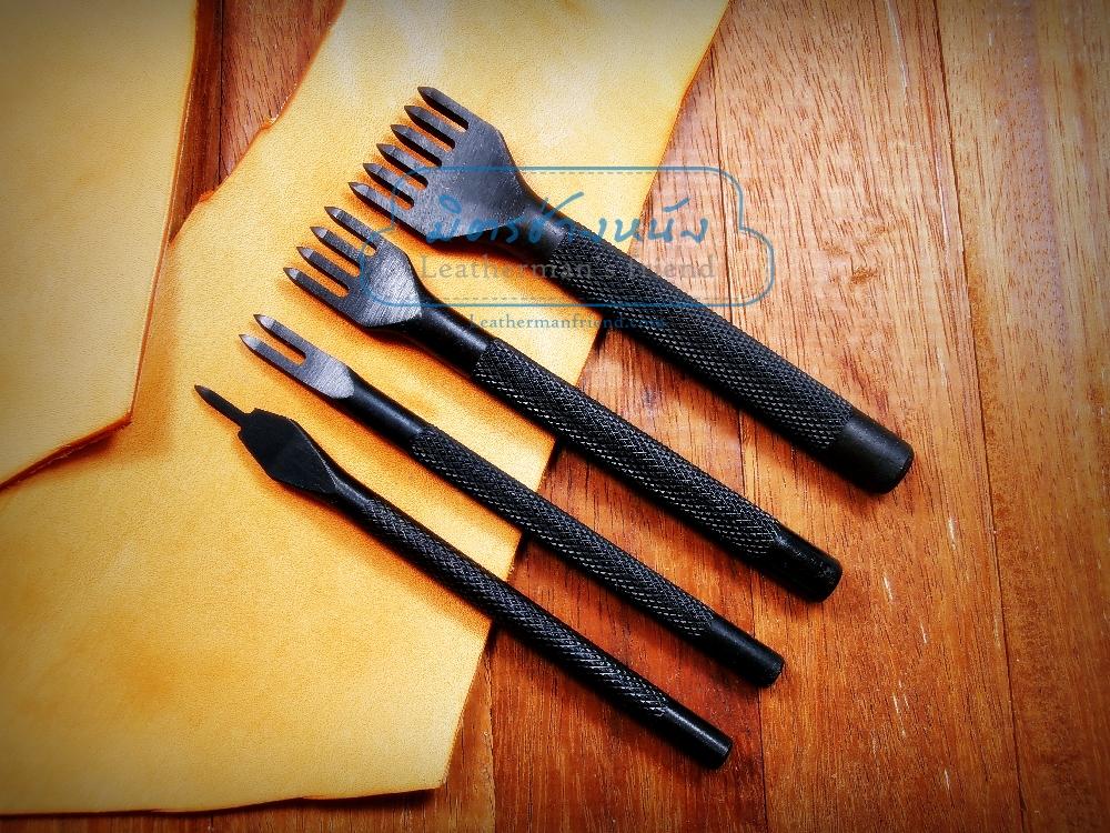 ชุดส้อมตอก รุ่นเหรียญทองแดง 1+2+4+6 ฟัน ระยะความกว้างฟัน 2 มิล ระยะห่างฟัน 4 มิล