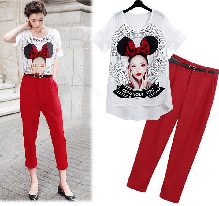 PreOrderไซส์ใหญ่ - เซตคู่เสื้อกางเกงแฟชั่นสไตล์ยุโรป ไซส์ใหญ่ คนอ้วน เสื้อยืดดีไซด์ใหม่ กางเกงขายาวสูทฮาเร็มสีแดง