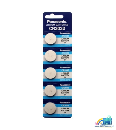 ถ่านกระดุม Panasonic CR2032 จำนวน 5 ก้อน/แผง