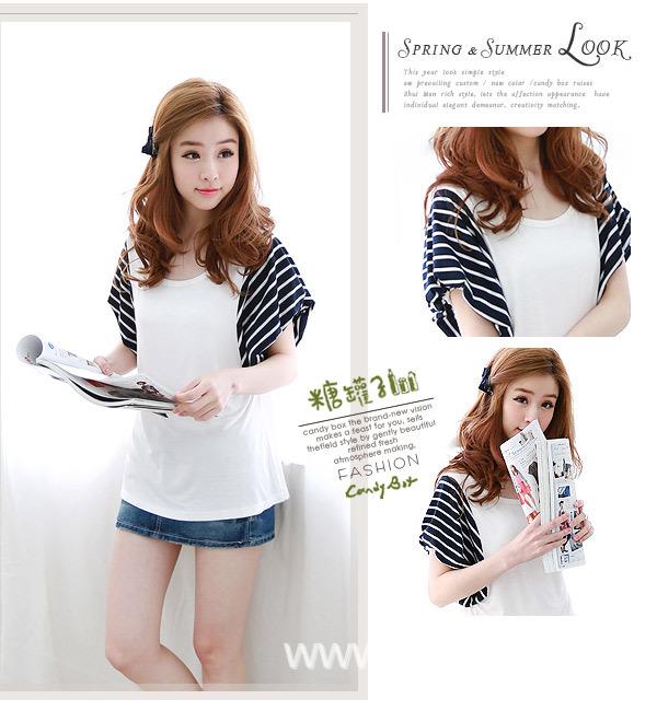 Pre Order - เสื้อแฟชั่นเกาหลี ผ้าฝ้ายใส่สบาย แขนเสื้อสั้นลายม้าลาย สีขาว