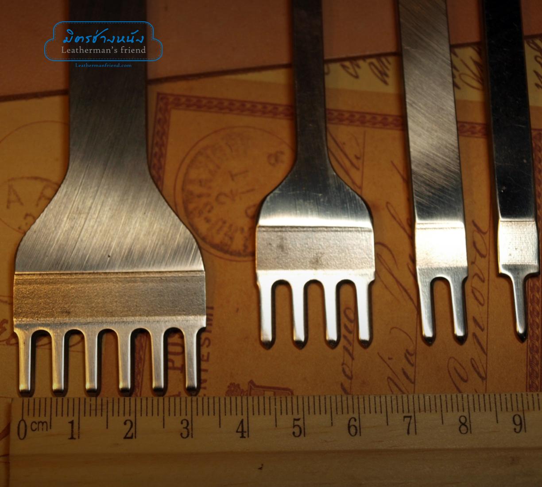 ชุดส้อมตอก ระยะฟันห่าง 6 มิล ระยะฟันกว้าง 3 มิล รุ่นเหรียญทอง เหล็กขาวแข็ง