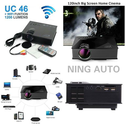 NEW..Mini Projector Wifi UC46 (ALL in 1) รุ่นพกพาขนาดเล็ก ปี 201